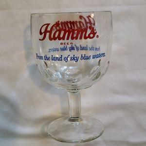 VINTAGE HAMMS BEER STEMMED GLASS